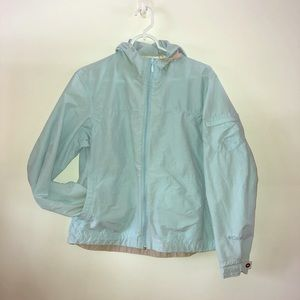 Columbia Light Sky Blue Hooded Wind Breaker sz. L